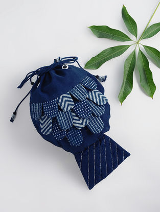 Indigo Dabu-printed Cotton Fish Bag with Applique and Tassels