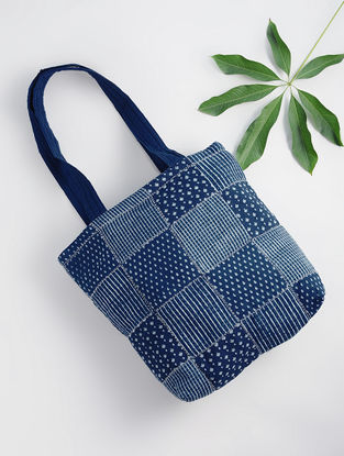 Indigo Dabu-printed Cotton Quilted Tote with Patch Work
