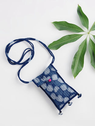 Indigo Dabu-printed Cotton Mobile Cover with Handmade Tassels and Laces