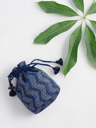 Indigo Dabu-printed Silk Potli with Handmade Tassels