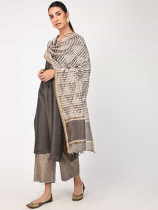 Kashish Natural-dyed Dabu-printed Chanderi Dupatta