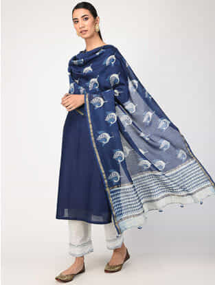 Indigo Natural-dyed Dabu-printed Chanderi Dupatta