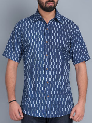 Indigo Half Sleeves Hand Block Printed Cotton Shirt by Aavaran