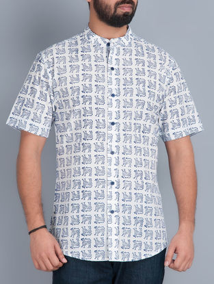 White Half Sleeves Hand Block Printed Cotton Shirt by Aavaran