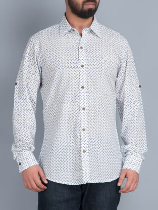 White Full Sleeves Hand Block Printed Cotton Shirt by Aavaran