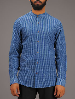 Blue-White Checkered Mandarin Collar Full Sleeve Cotton Shirt