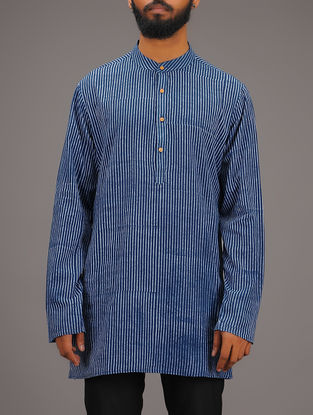Blue-White Striped Mandarin Collar Full Sleeve Cotton Kurta
