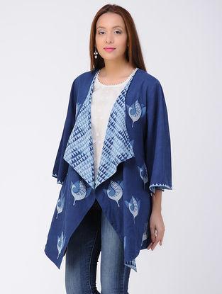 Indigo-Ivory Dabu-printed Cotton Jacket