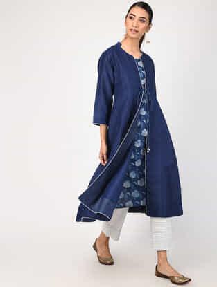 Indigo Natural-dyed Dabu-printed Chanderi-Cotton Jacket with Slip (Set of 2)