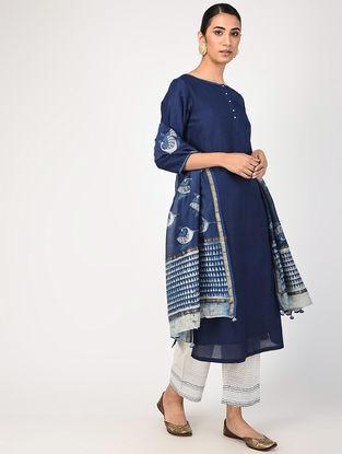 Indigo Natural-dyed Pintuck Chanderi Kurta