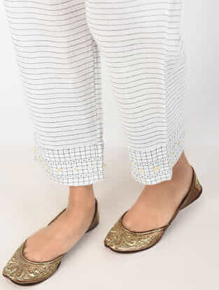 White Printed Cotton Pants