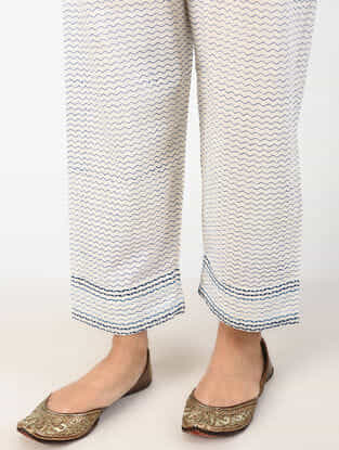 White Tie-up Waist Printed Cotton Pants with Embroidery
