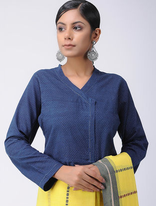 Blue-Ivory Natural-dyed Block-printed and Kantha-embroidered Cotton Blouse
