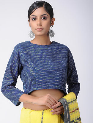 Blue-Ivory Natural-dyed Block-printed Cotton Blouse
