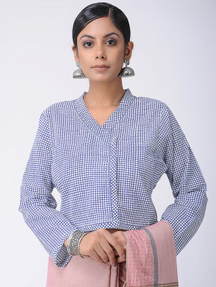 Ivory-Blue Natural-dyed Block-printed and Kantha-embroidered Cotton Blouse