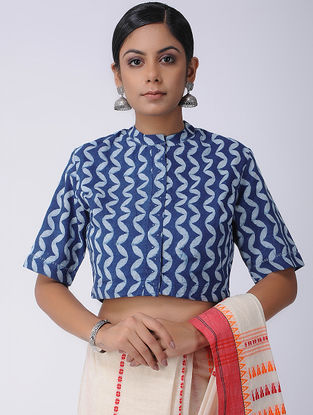 Blue-Ivory Natural-dyed Dabu-printed Cotton Blouse