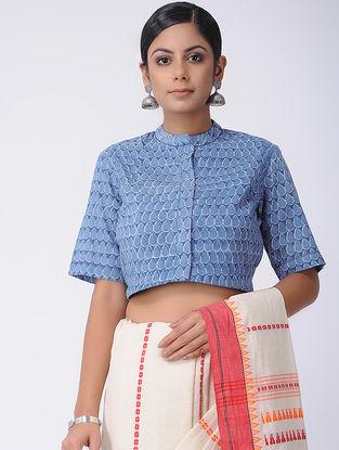 Blue Natural-dyed Dabu-printed Cotton Blouse
