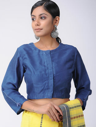Blue Natural-dyed Dabu-printed Chanderi Blouse