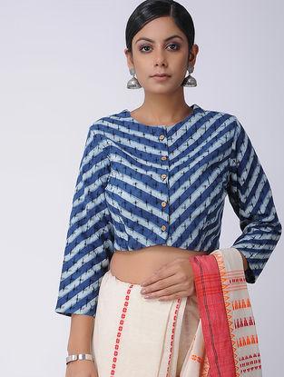 Blue-Ivory Natural-dyed Dabu-printed Ikat Cotton Blouse