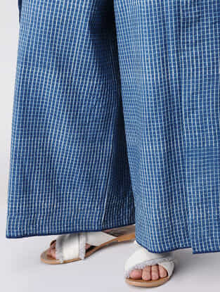 Indigo Dabu-printed Cotton Wrap Around Pants with Mukaish Hem