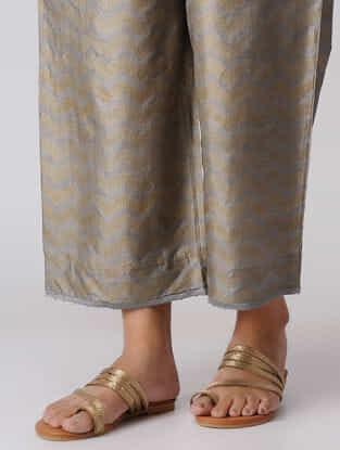 Kashish Khari-printed Elasticated Waist Mulberry Silk Pants with Moti Hem