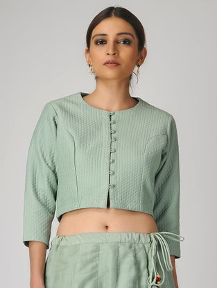 Green Quilted Natural-dyed Cotton Silk Jacket