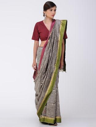 Kashish-Ivory Natural-dyed Dabu-printed Chanderi Saree with Zari Border