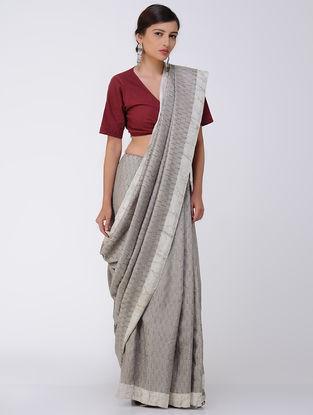 Kashish-White Natural-dyed Dabu-printed Mulberry Silk Saree