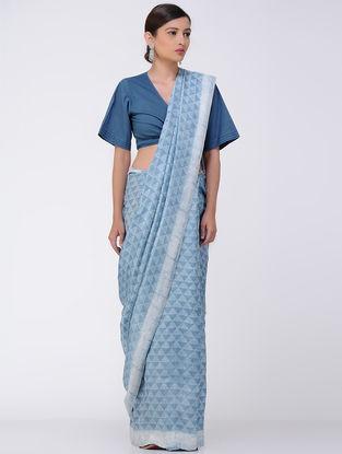 Indigo-White Natural-dyed Dabu-printed Mulberry Silk Saree