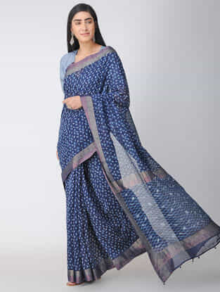 Indigo-Ivory Dabu-printed Natural-dyed Chanderi Saree with Zari and Tassels