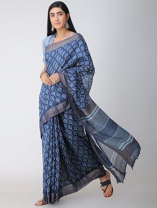 Indigo-Ivory Dabu-printed Natural-dyed Chanderi Saree with Zari and Tassels