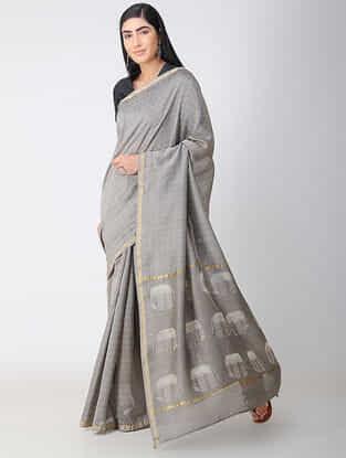 Grey-Ivory Dabu-printed Natural-dyed Chanderi Saree with Zari and Tassels