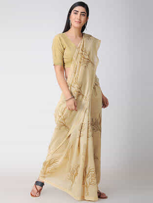 Beige Natural-dyed Block-printed Chanderi Saree with Zari and Tassels