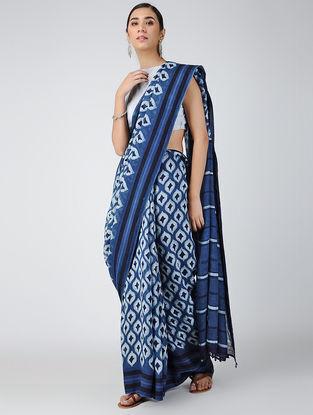 Indigo-Ivory Dabu-printed Natural-dyed Linen Saree with Tassels