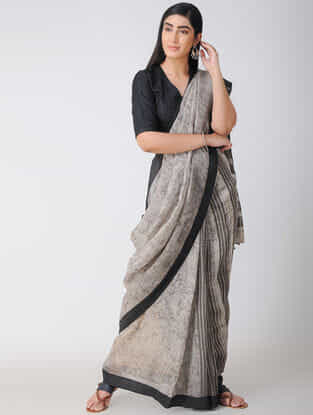 Ivory-Black Dabu-printed Natural-dyed Linen Saree with Tassels