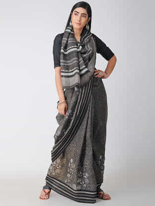 Black-Ivory Dabu-printed Natural-dyed Linen Saree with Tassels