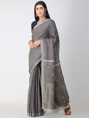 Grey-Ivory Dabu-printed Natural-dyed Linen Saree with Tassels