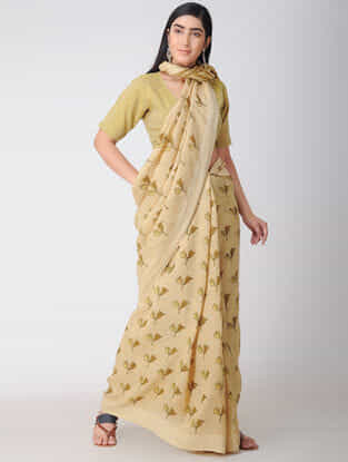 Beige-Yellow Block-printed Natural-dyed Linen Saree with Tassels