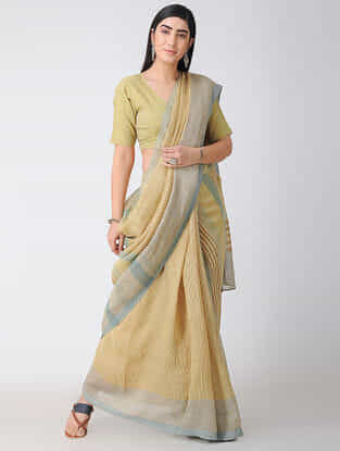 Beige Block-printed Natural-dyed Linen Saree with Zari and Tassels