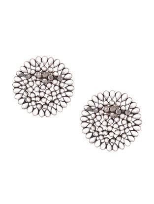 Glass Crystal Polki-inspired Silver Earrings with Floral Design