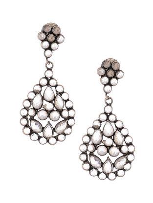 Glass Crystal Polki-inspired Silver Earrings