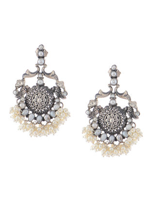 Kundan-inspired Pearl Silver Earrings
