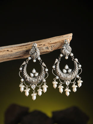 Pearl Kundan-inspired Silver Earrings with Peacock Motif