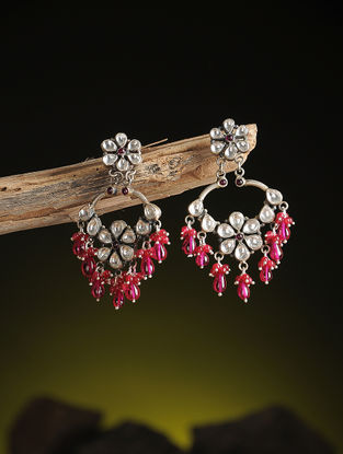 Pink Kundan-inspired Silver Earrings with Floral Design