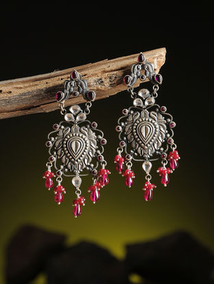 Pink Kundan-inspired Silver Earrings