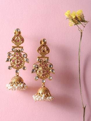Kundan-inspired Gold Tone Silver Jhumkis with Fresh Water Pearls