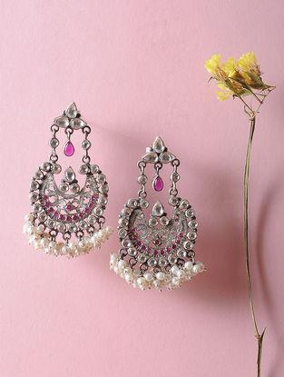 Kundan-inspired Silver Earrings with Fresh Water Pearls