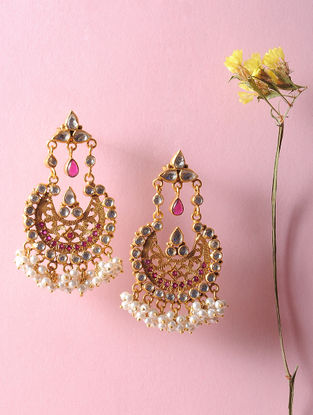 Kundan-inspired Gold Tone Silver Earrings with Fresh Water Pearls