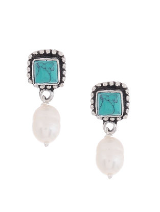 Turquoise Silver Earrings with Pearl