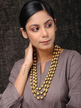 Multi-String Gold Tone Dholki Beaded Silver Necklace